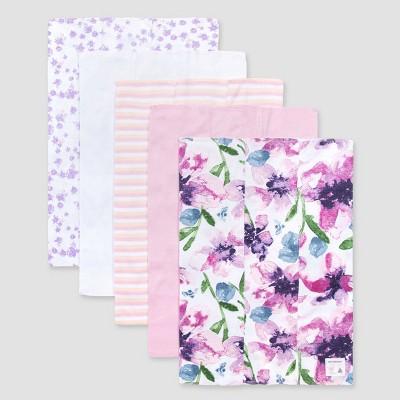 Burt's Bees Baby® Girls' 5pk Watercolor Daylily Burp Cloth - Purple