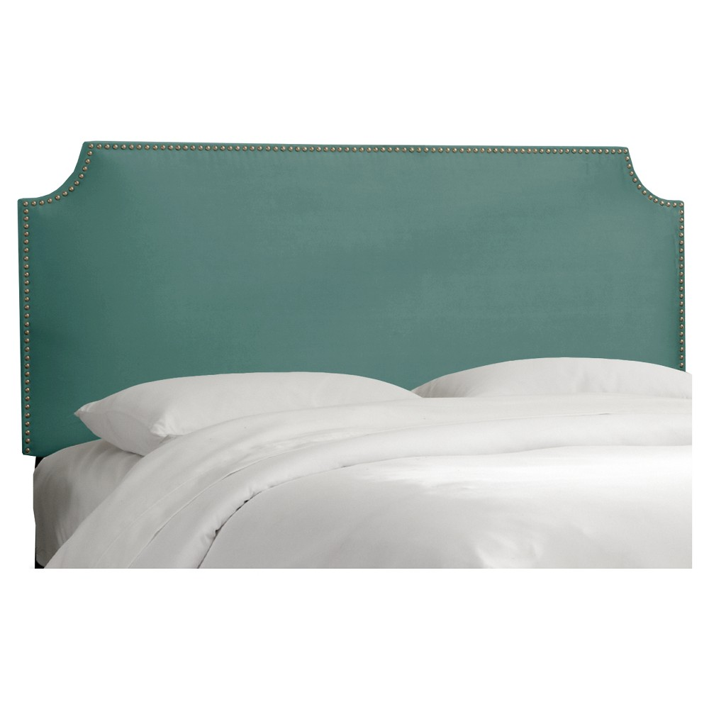 King Lombard Nail Button Notched Headboard Teal Microfiber - Skyline Furniture