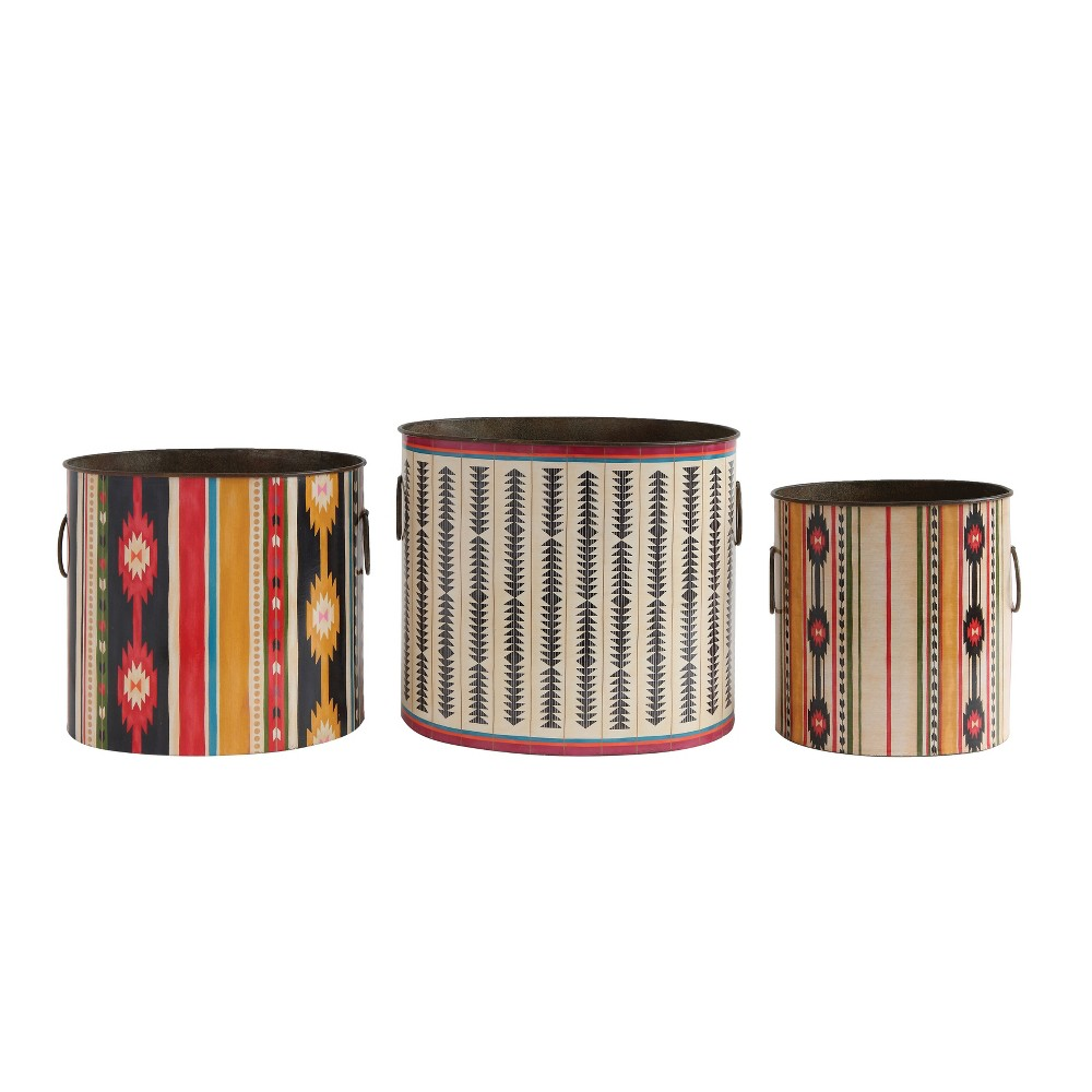 Image of Decorative Bucket Set of 3 - Tribal Print - 3R Studios