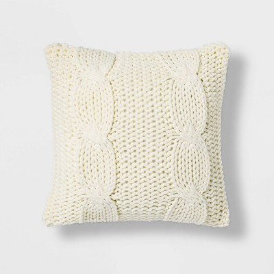 Chunky Cable Knit Square Throw Pillow Cream - Threshold™