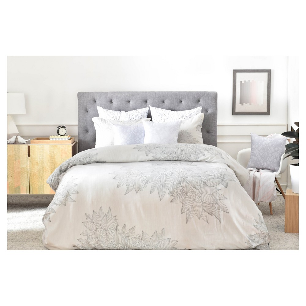 Iveta Abolina Beach Day Floral Duvet Cover (King) - Deny Designs, Gray Multicolored