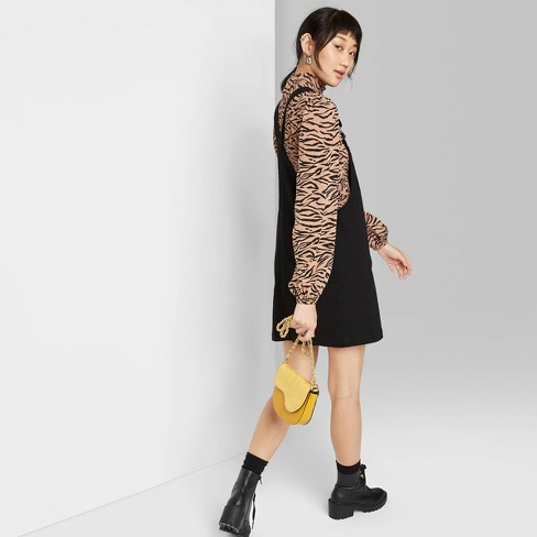 Women's Denim Pinafore Mini Dress - Wild Fable™ Black - image 1 of 3