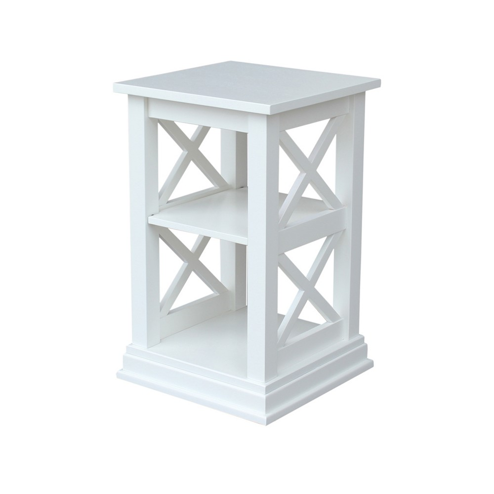 Hampton Accent Table with Shelves White - International Concepts
