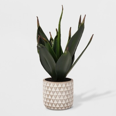 Faux Plant in Geometric Print Cement Pot - Project 62™