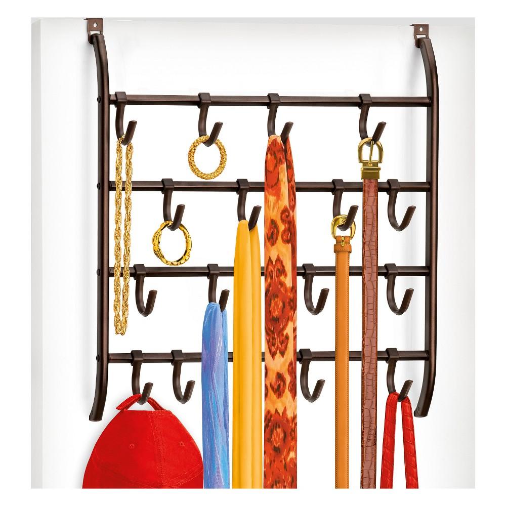 Image of Lynk Over Door or Wall Mount Scarf Holder - Belt, Hat, Jewelry, Accessory Hanger - 16 Hook Organizer Rack - Bronze