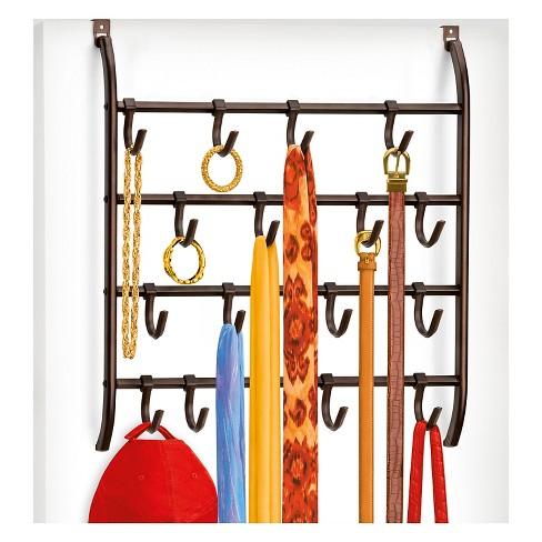 Lynk Over Door Or Wall Mount Scarf Holder Belt Hat Jewelry Accessory Hanger 16 Hook Organizer Rack Bronze
