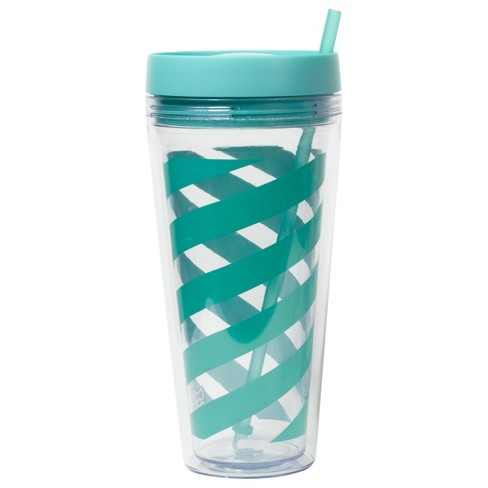 29297a1a840 Cool Gear Plastic Tumbler With Lid And Straw 24oz - Turquoise