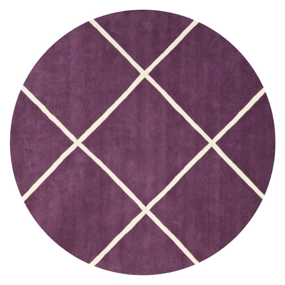 7' Geometric Tufted Round Area Rug Purple/Ivory - Safavieh