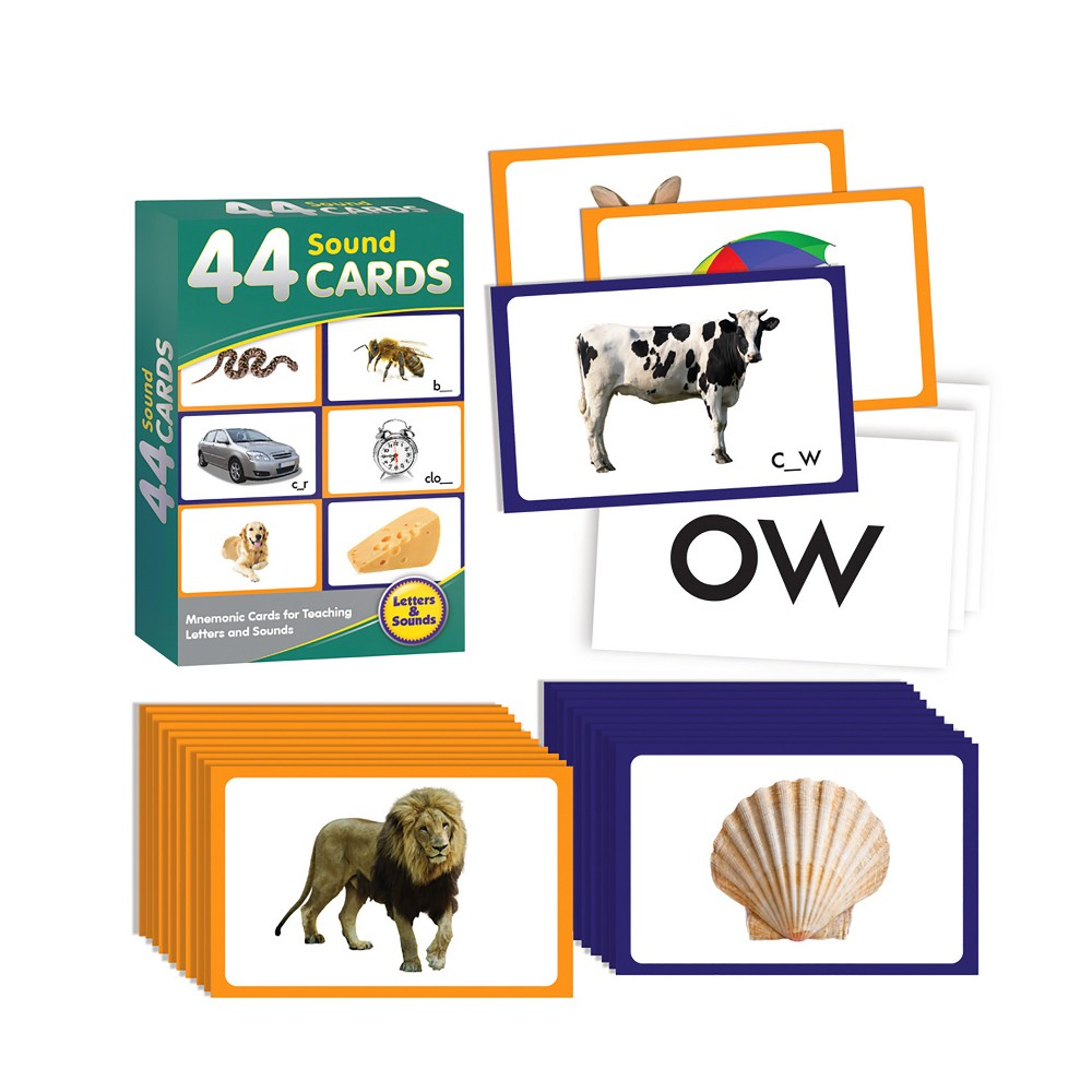 Junior Learning 44 Sound Cards Learning Set 44 Sound Cards provide an image for each of the 44 sounds to act as a mnemonic for learning. For examples, sssss is for snake. Borders are color-coded according to a developmental progression. Clear photographic images used throughout. Perfect for introducing phonics a phonics lesson.