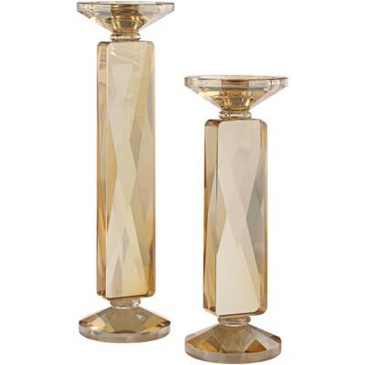 Dahlia Studios Wembley Amber Glass Pillar Candle Holders Set of 2