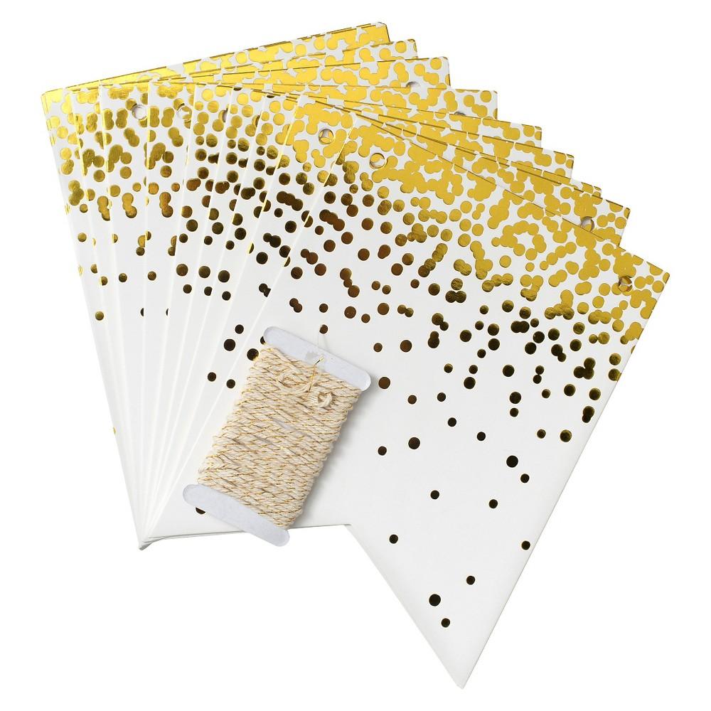 Gold Confetti Flag Banner - Spritz, Bleach White/Gold Shimmer