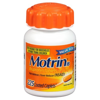 Motrin IB Pain Reliever & Fever Reducer Coated Caplets - Ibuprofen (NSAID)- 225ct