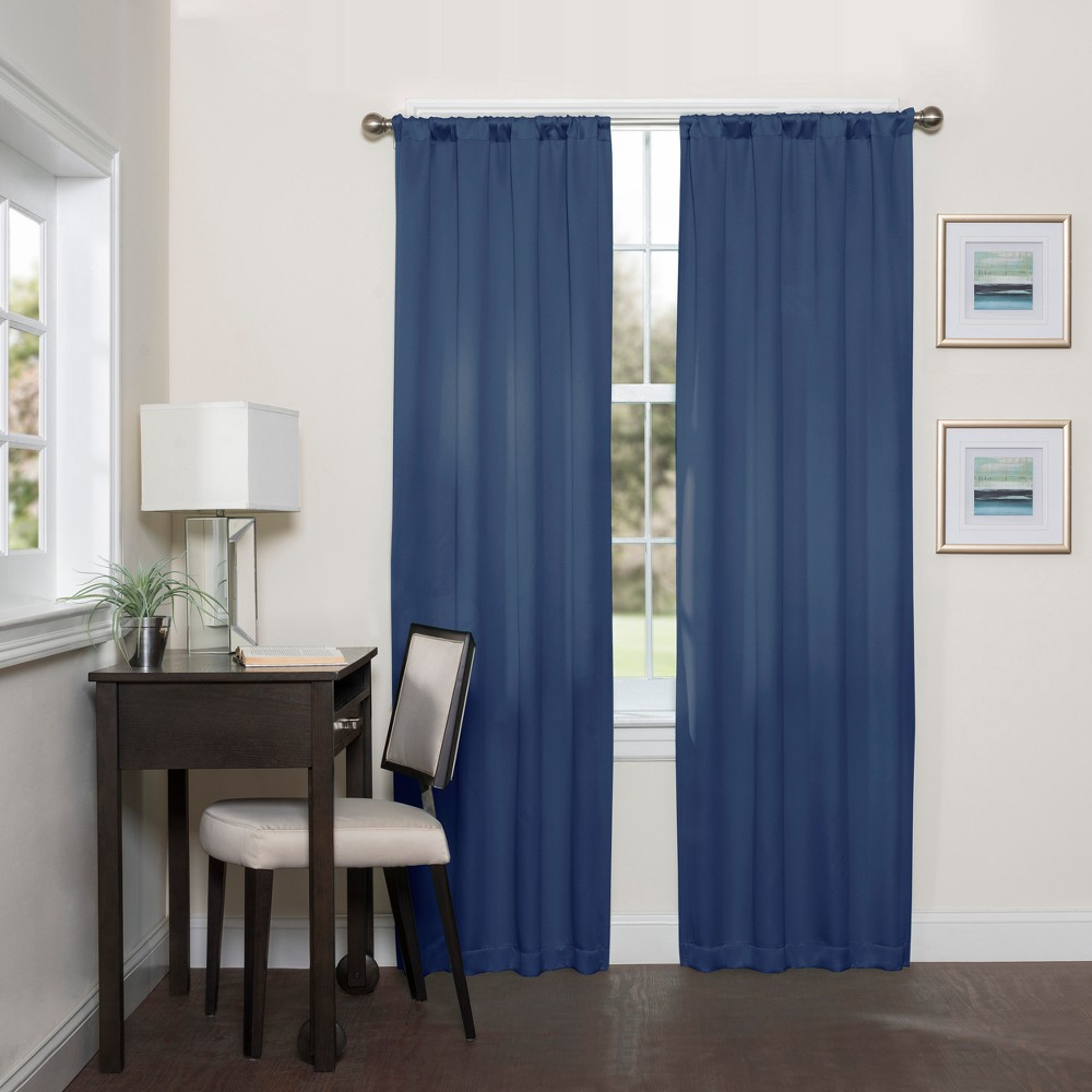 Darrell Thermaweave Blackout Curtain Indigo (Blue)/Solid 37X95 - Eclipse