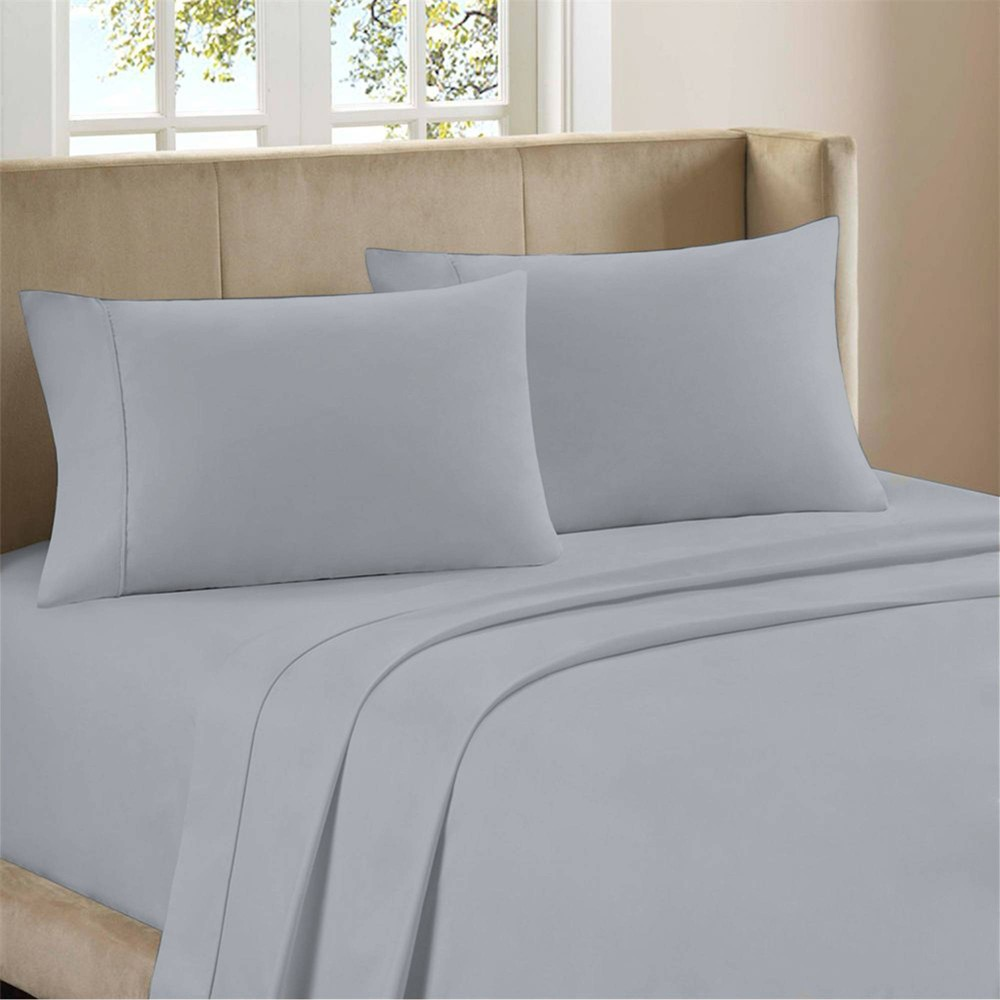 Full Organic Cotton Deep Pocket Percale Sheet Set Light Gray Purity Home