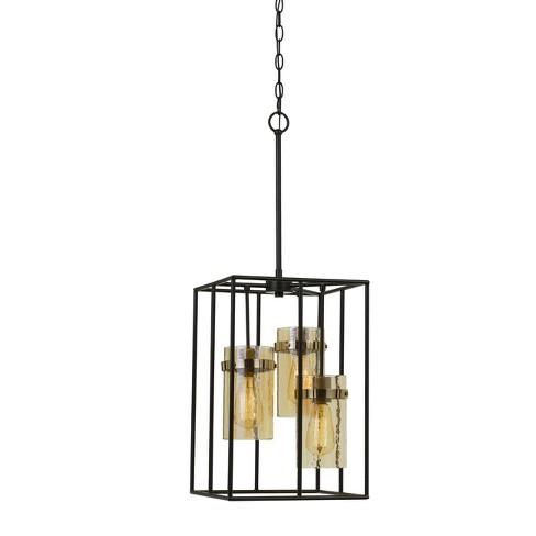 "Cremona Glass Pendant Fixture Antique Brass 4.2""x3.2"" - Cal Lighting - image 1 of 2"
