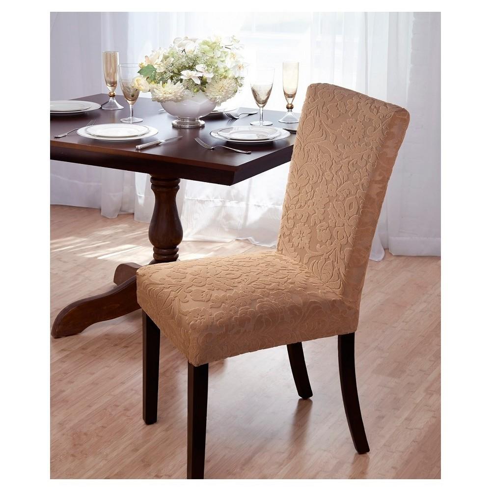Madsion Beige Velvet Damask Dining Room Chair Cover - Mad...