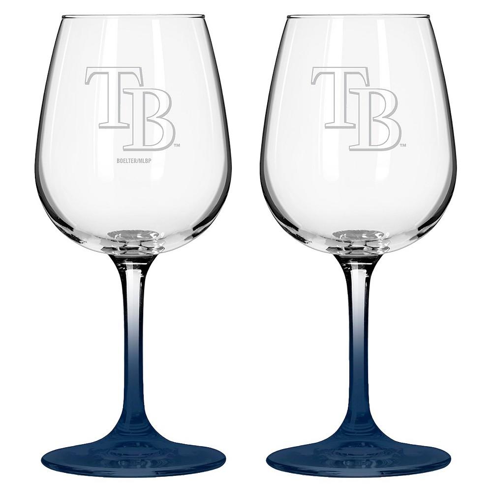MLB Rays Wine Glass - Set of 2, Multi-Colored