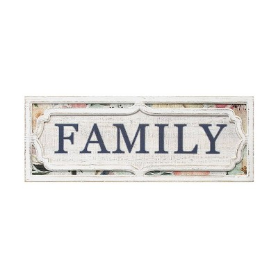 "31.5"" x 11.81"" Floral Family Wall Décor White/Blue - Stratton Home Décor"