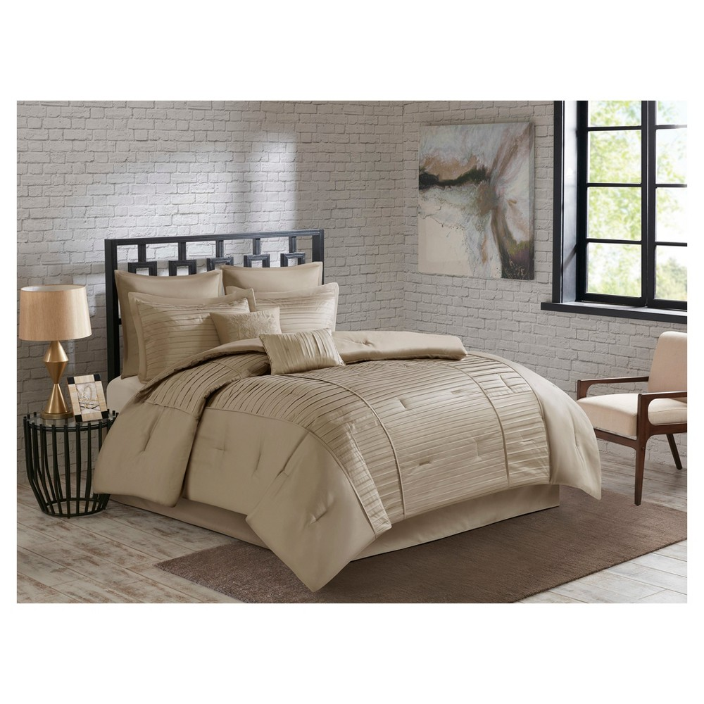 Champagne Maddox Charmeuse Embroidered Comforter Set (King) 8pc, Beige