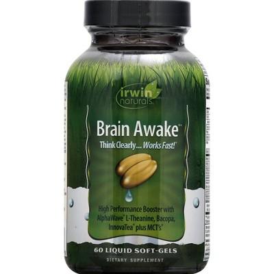 irwin naturals Brain Awake Dietary Supplement Liquid Softgels - 60ct