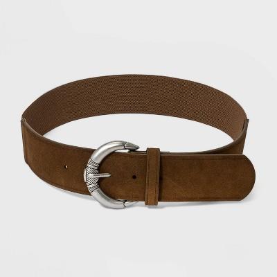 Women's Decorative Buckle Stretch Belt Back - Universal Thread™ Otter