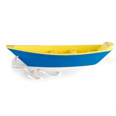 Magic Cabin - Classic Blue Wooden Toy Boat for Kids Outdoor Water Play