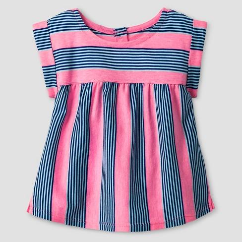 Baby Girls' Striped Babydoll T-Shirt - Cat & Jack™ Pink/Blue 18M - image 1 of 1