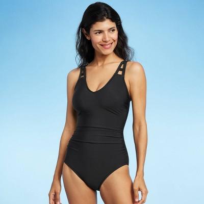 Women's Cut Out Strap One Piece Swimsuit - Aqua Green® Black