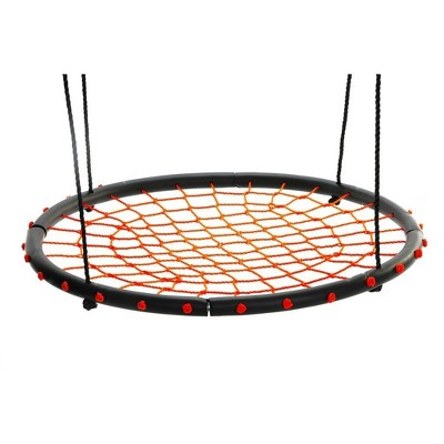 Swinging Monkey Giant 40 Inch Diameter 400 Pound Weight Capacity Spider Web Fabric Outdoor Tree Saucer Swing, Orange