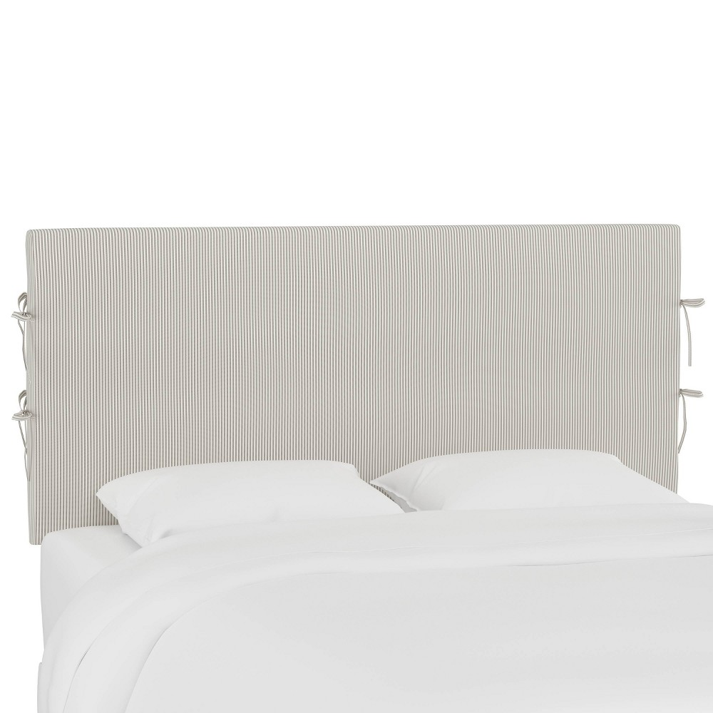Queen Slipcover Headboard With Ties Oxford Stripe Taupe Skyline Furniture