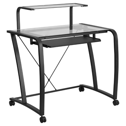 Mobile Glass Computer Desk with Pull - Out Keyboard Tray and Monitor Platform - Clear Glass Top/Black Frame - Riverstone Furniture Collection - image 1 of 3