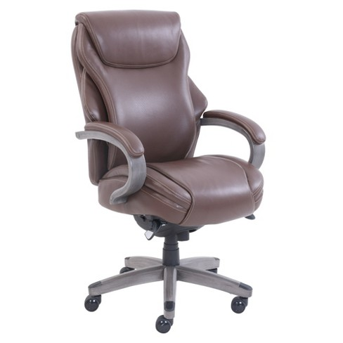 Astonishing Hyland Bonded Leather Wood Executive Office Chair With Air Technology Brown Gray La Z Boy Pabps2019 Chair Design Images Pabps2019Com