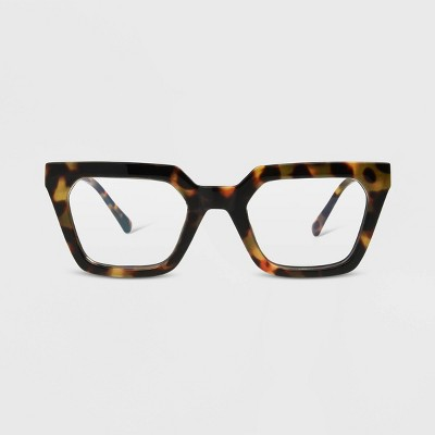Women's Blue Light Filtering Tortoise Shell Print Rectangle Glasses - A New Day™ Brown