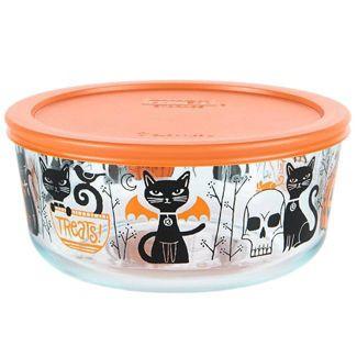 Pyrex 56oz Glass Halloween Cat Food Storage Container Orange