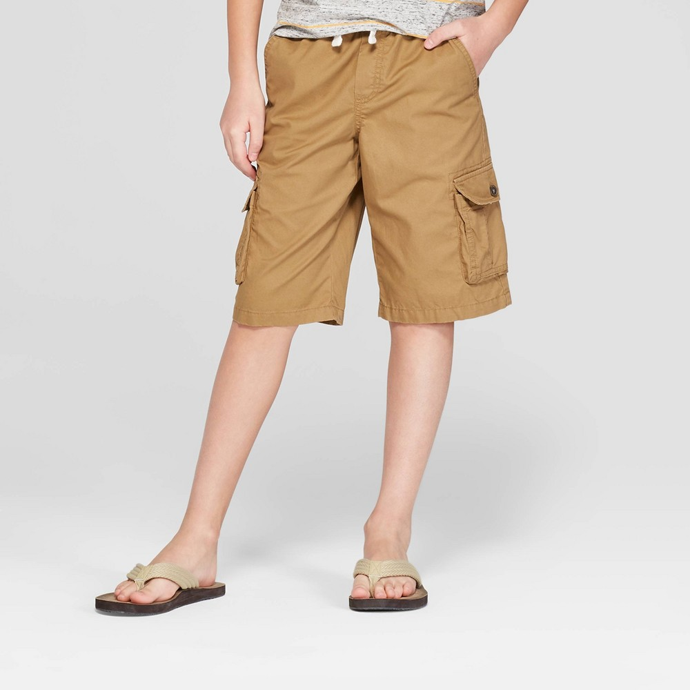 Image of Boys' Pull-On Cargo Shorts - Cat & Jack Brown L, Boy's, Size: Large