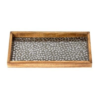 "6.5""x13"" Mosaic Tray For Luxurious Bath Countertop Black - Nu Steel"