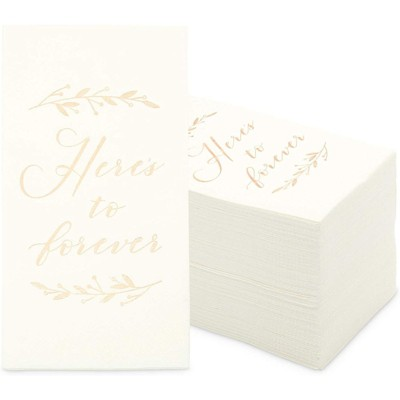 Sparkle and Bash 100 Pack Wedding Dinner Napkins, Here's to Forever (White, 4 x 8 In)