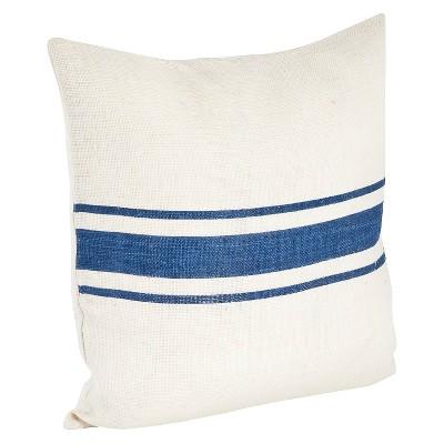 Navy Blue Striped Design Jute Throw Pillow (20 x20 )Saro Lifestyle