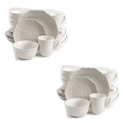 Gibson Elite Portina 124306.16R Round Everyday 16 Piece Reactive Glaze Dinnerware Set Plates, Bowls, and Mugs, Microwave and Dishwasher Safe (2 Pack)