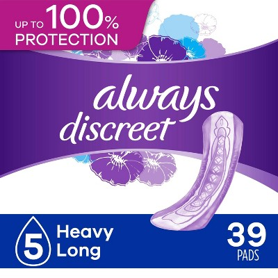Always Discreet Incontinence and Postpartum Incontinence Pads for Women - Heavy Absorbency - Long Length - 39ct