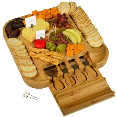 Picnic at Ascot - Bamboo Cheese Board with Cracker Groove & Integrated Drawer w/Cheese Serving Set & Markers