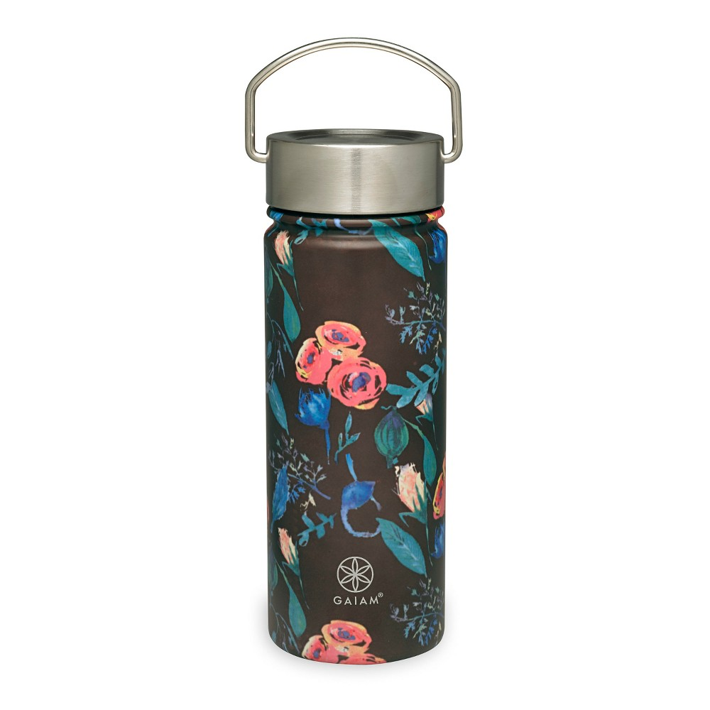 Gaiam 18oz Stainless Steel Wide Mouth Water Bottle - Floral Print