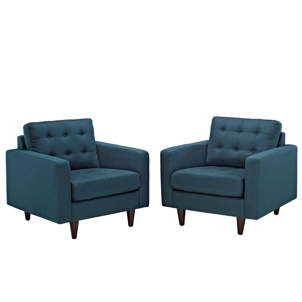 Empress Armchair Upholstered Set of 2 Azure (Blue) - Modway