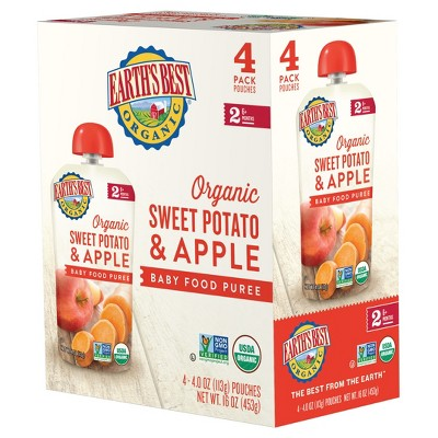 Earth's Best Organic 4pk Sweet Potato & Apple Baby Food Pouch - 16oz
