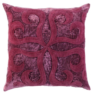 """20""""x20"""" Oversize Medallion Square Throw Pillow Cover Merlot/Red - Rizzy Home"""