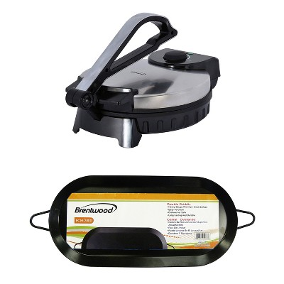 Brentwood Non-Stick Electric Tortilla Warmer & 18-Inch Dual Burner Comal Griddle
