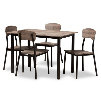 5pc Marcus Metal and Rustic Oak Finished Wood Dining Set Black/Oak - Baxton Studio