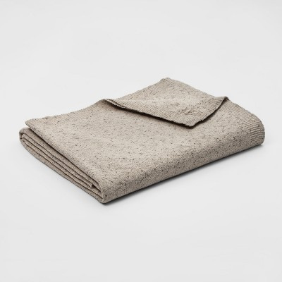 Full/Queen Marled Chenille Blanket Natural - Threshold™