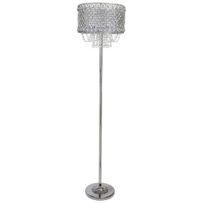 Grandview Gallery 60-Inch Tall 100-Watt Modern Glam E26 Bulb Floor Lamp with Faceted Crystal Drum Shade, Polished Chrome