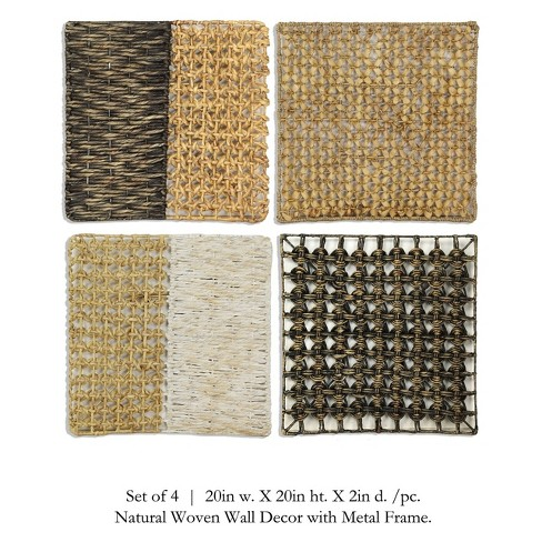 """19.7"""" 4pc Seagrass Squares Panels Decorative Wall Art - StyleCraft - image 1 of 1"""